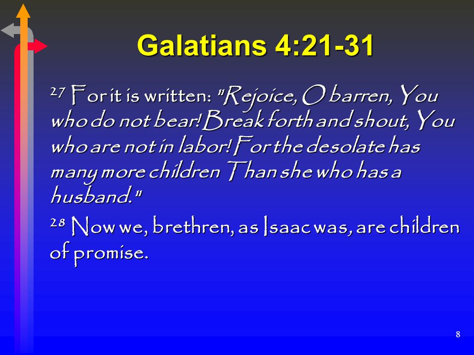 8 Galatians 4:21-31 27 For it is written: Rejoice, O barren, You who do not bear.