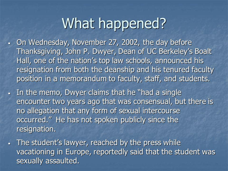 What happened. On Wednesday, November 27, 2002, the day before Thanksgiving, John P.