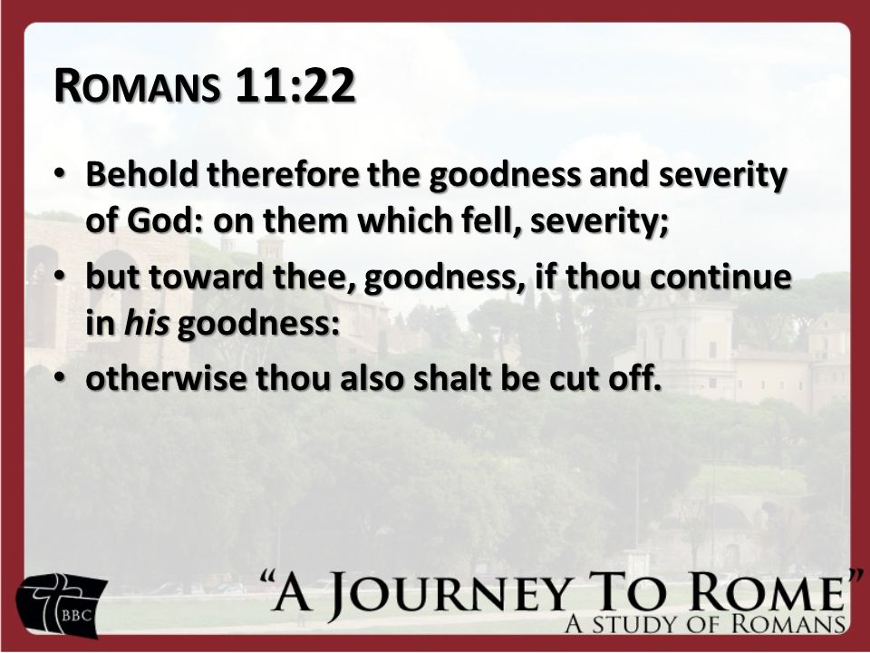 R OMANS 11:22 Behold therefore the goodness and severity of God: on them which fell, severity; Behold therefore the goodness and severity of God: on them which fell, severity; but toward thee, goodness, if thou continue in his goodness: but toward thee, goodness, if thou continue in his goodness: otherwise thou also shalt be cut off.