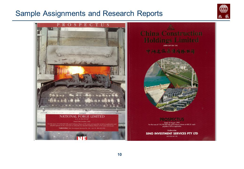 10 Sample Assignments and Research Reports