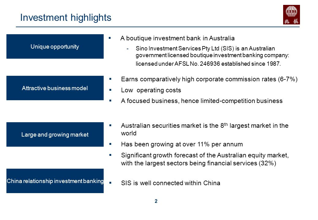 3 A wealth of experience SIS was founded by Richard Li, Executive Chairman of SIS, who has had 36 years experience in financial and investment services with major financial and investment institutions including Arthur Andersen, AXA Australia, Ord Minnett Ltd, the predecessor of Australia's JP Morgan where he was in charge of the Asian region.