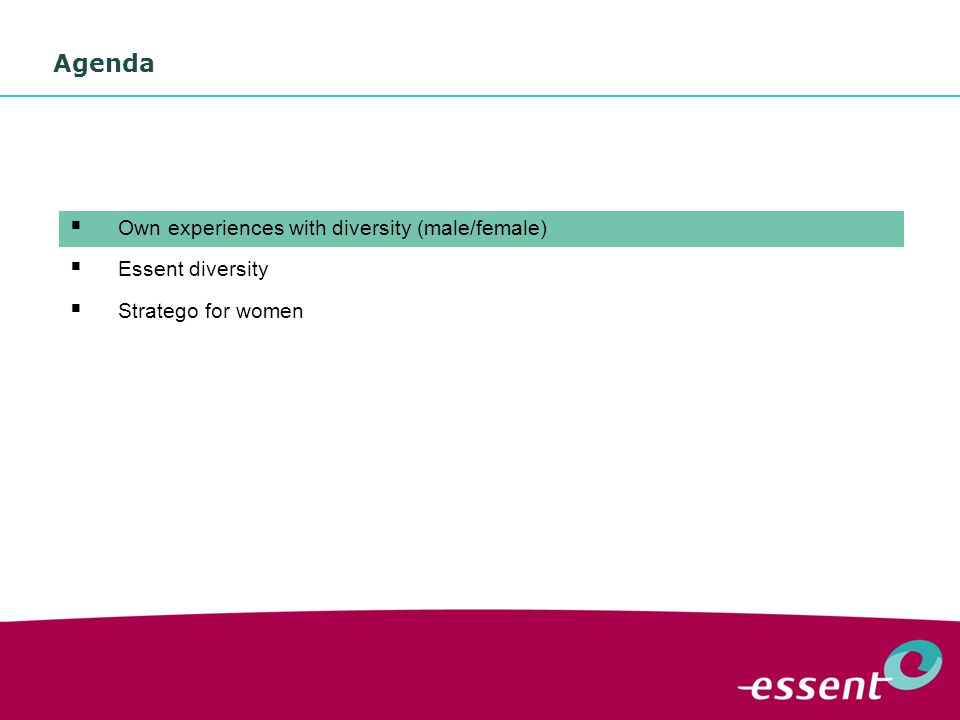 3 Agenda  Own experiences with diversity (male/female)  Essent diversity  Stratego for women