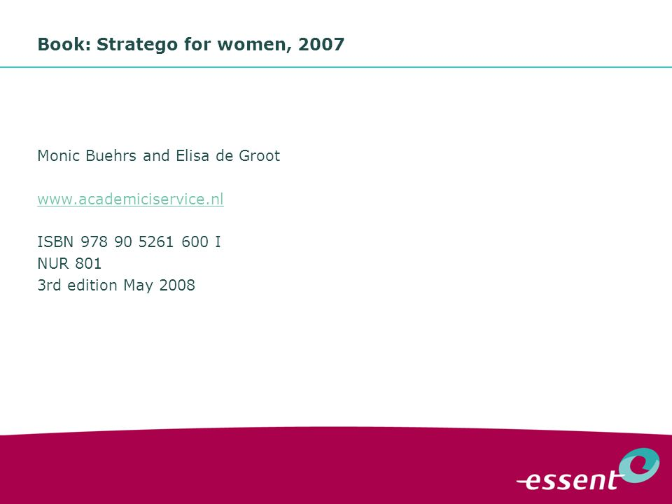 9 Book: Stratego for women, 2007 Monic Buehrs and Elisa de Groot www.academiciservice.nl ISBN 978 90 5261 600 I NUR 801 3rd edition May 2008