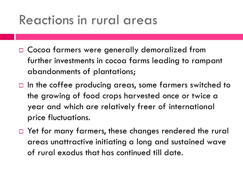 Reactions in rural areas  Cocoa farmers were generally demoralized from further investments in cocoa farms leading to rampant abandonments of plantations;  In the coffee producing areas, some farmers switched to the growing of food crops harvested once or twice a year and which are relatively freer of international price fluctuations.