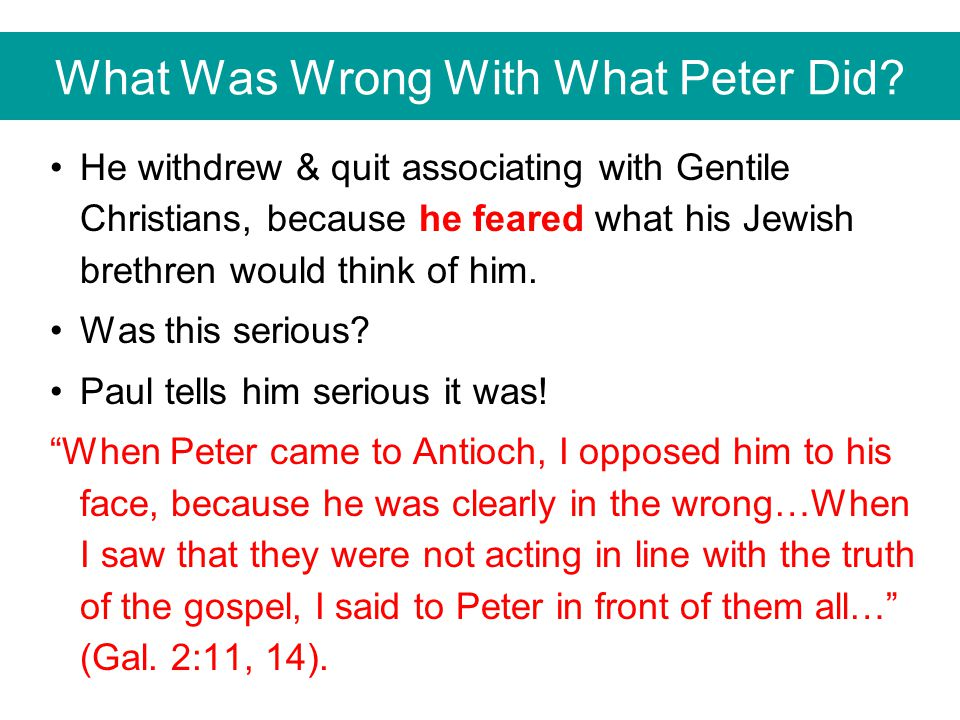 What Was Wrong With What Peter Did.