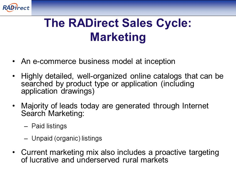 The RADirect Sales Cycle: Marketing An e-commerce business model at inception Highly detailed, well-organized online catalogs that can be searched by product type or application (including application drawings) Majority of leads today are generated through Internet Search Marketing: –Paid listings –Unpaid (organic) listings Current marketing mix also includes a proactive targeting of lucrative and underserved rural markets