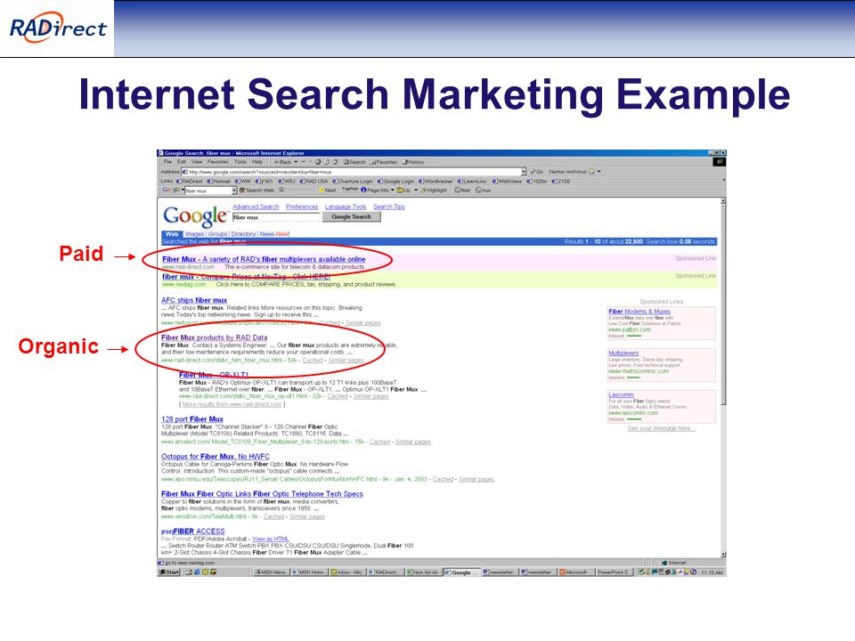 Internet Search Marketing Example Paid Organic