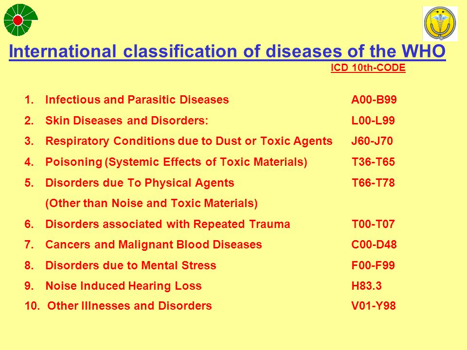 Classification of Occupational Illness 1.