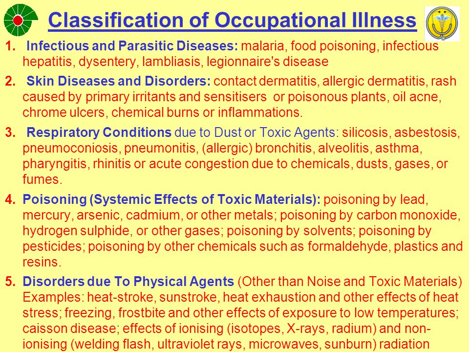 Classification of Occupational Illness (continue) 6.Disorders associated with Repeated Trauma: synovitis, tenosynovitis, and bursitis; Raynaud s phenomenon; other disorders of the musculo- skeletal system and connective tissue associated with repeated trauma.