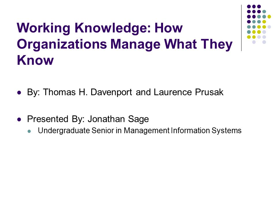 Implementing Knowledge Technologies Considerations Data verses knowledge On WKID scale Hardware requirements (a la large volume computers) People and interpretations Types of people