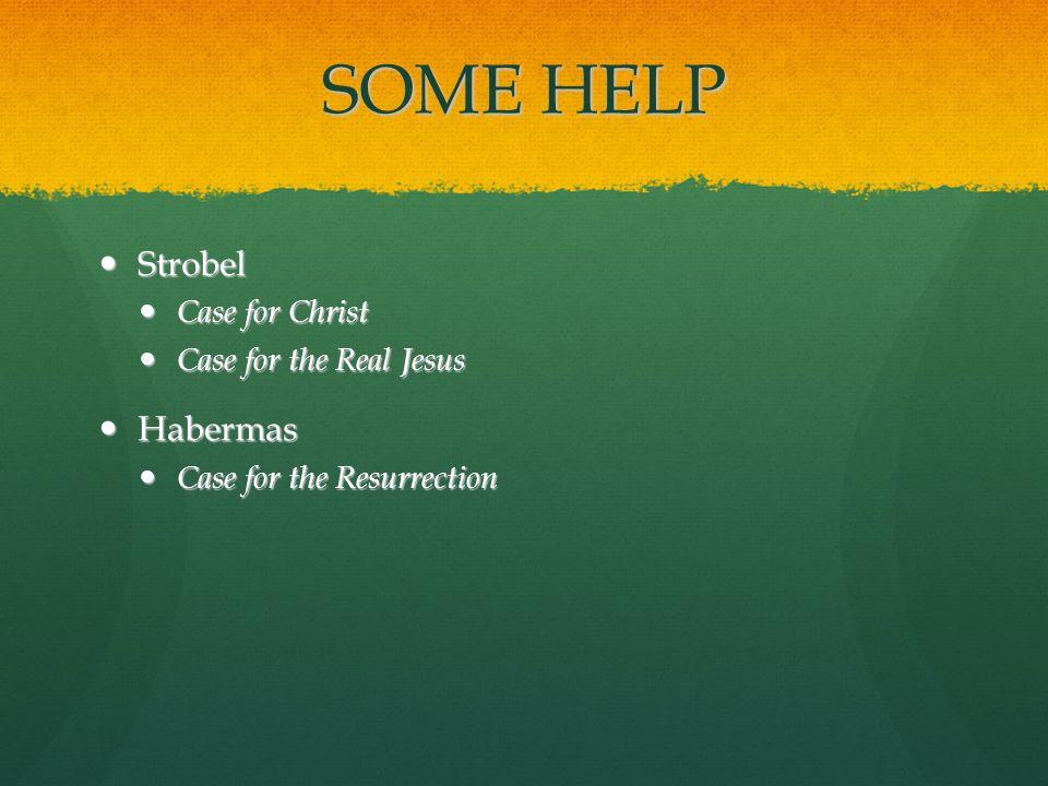 SOME HELP Strobel Strobel Case for Christ Case for Christ Case for the Real Jesus Case for the Real Jesus Habermas Habermas Case for the Resurrection Case for the Resurrection