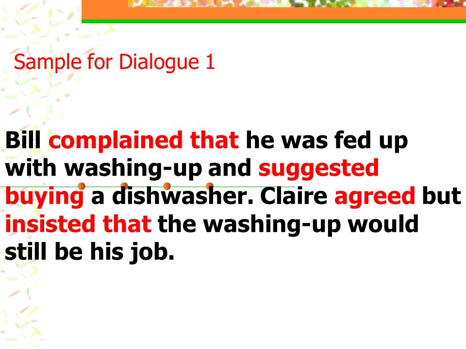Dialogues Report the dialogues using the reporting verbs given.