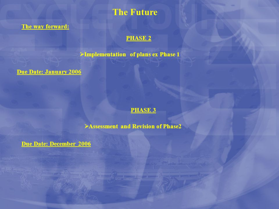 The Future The way forward: PHASE 2 Due Date: January 2006  Implementation of plans ex Phase 1 PHASE 3 Due Date: December 2006  Assessment and Revis
