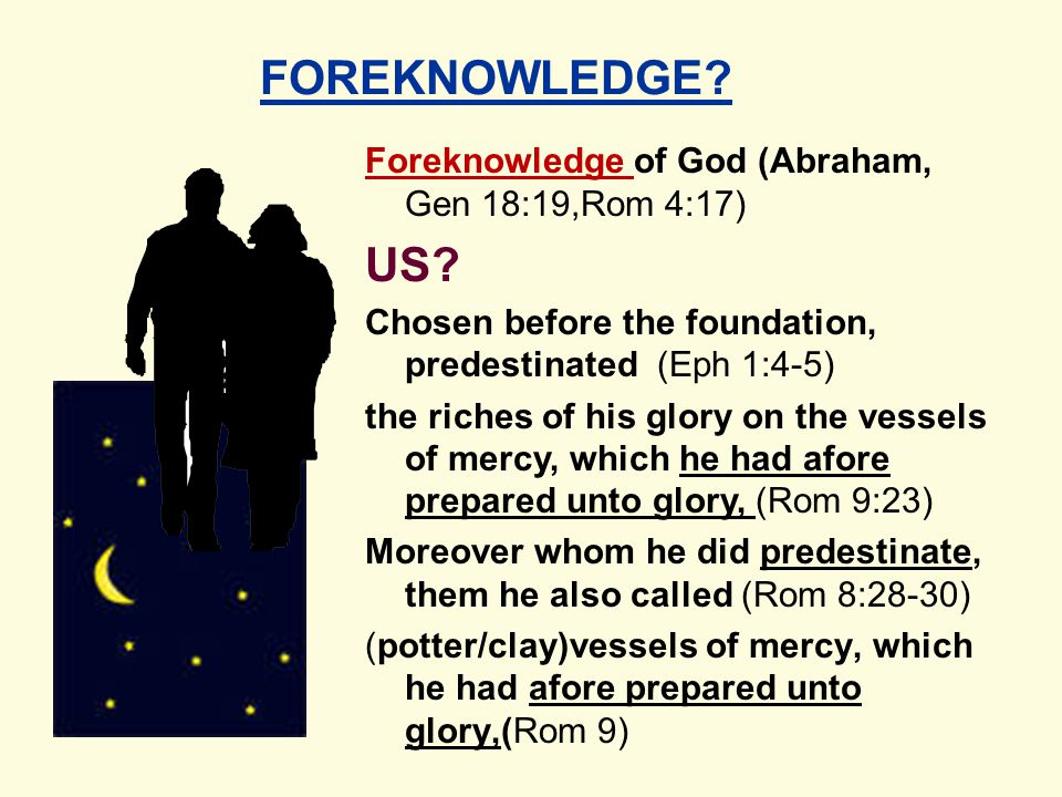 Foreknowledge of God (Abraham, Gen 18:19,Rom 4:17) US.