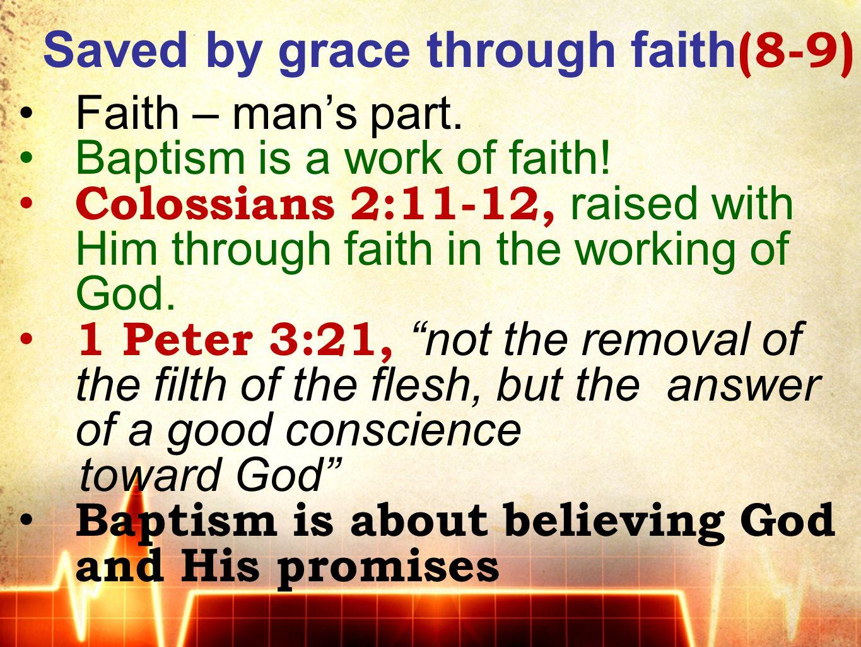 Saved by grace through faith (8-9) Faith – man's part. Baptism is a work of faith! Colossians 2:11-12, raised with Him through faith in the working of