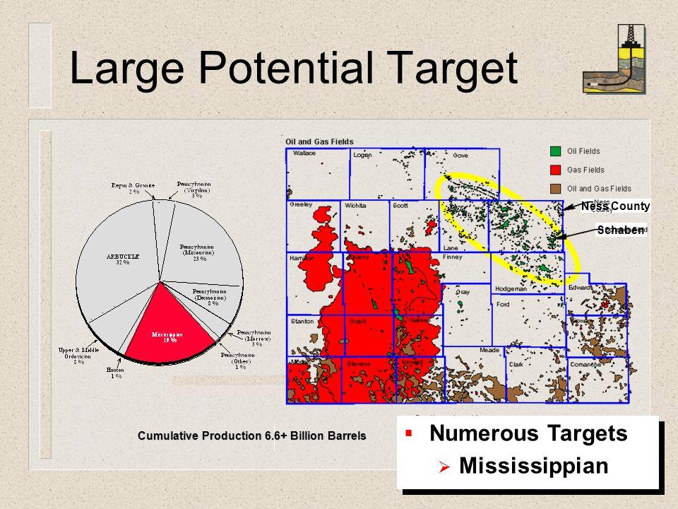 Large Potential Target Ness County Schaben Cumulative Production 6.6+ Billion Barrels   Numerous Targets   Mississippian   Numerous Targets   Mississippian