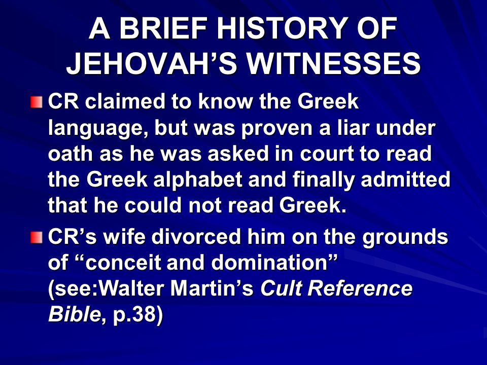 A BRIEF HISTORY OF JEHOVAH'S WITNESSES The Brooklyn Daily Eagle accused CR of fraudulent money making schemes, one of which was the marketing of ...Miracle Wheat which he claimed would grow five times as much as any other brand, and which he sold at $60 a bushel. Miracle Wheat was proven in court to be a fraud (Martin, p.