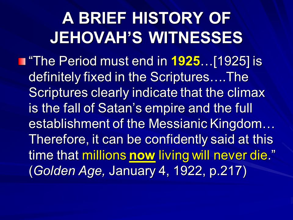 A BRIEF HISTORY OF JEHOVAH'S WITNESSES 1969 Pres.
