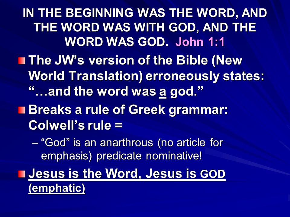 JOHN 1:1 DOES NOT TEACH POLYTHEISM!!.
