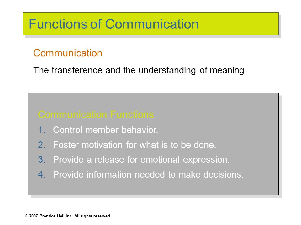 © 2007 Prentice Hall Inc. All rights reserved. Functions of Communication Communication Functions 1.Control member behavior. 2.Foster motivation for w