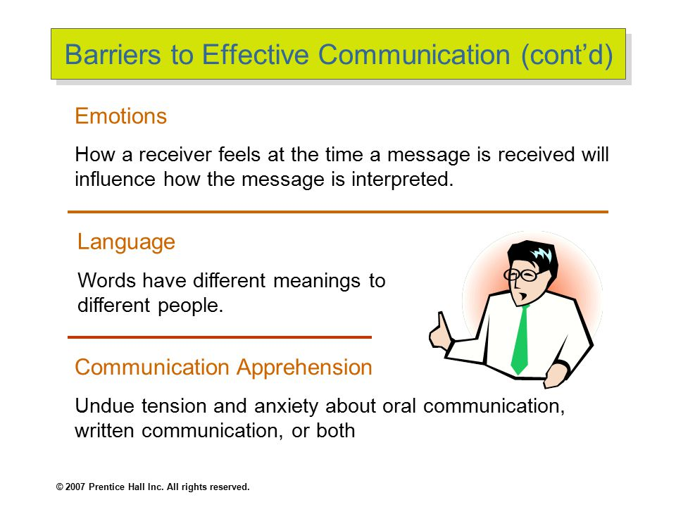 © 2007 Prentice Hall Inc. All rights reserved. Barriers to Effective Communication (cont'd) Emotions How a receiver feels at the time a message is rec
