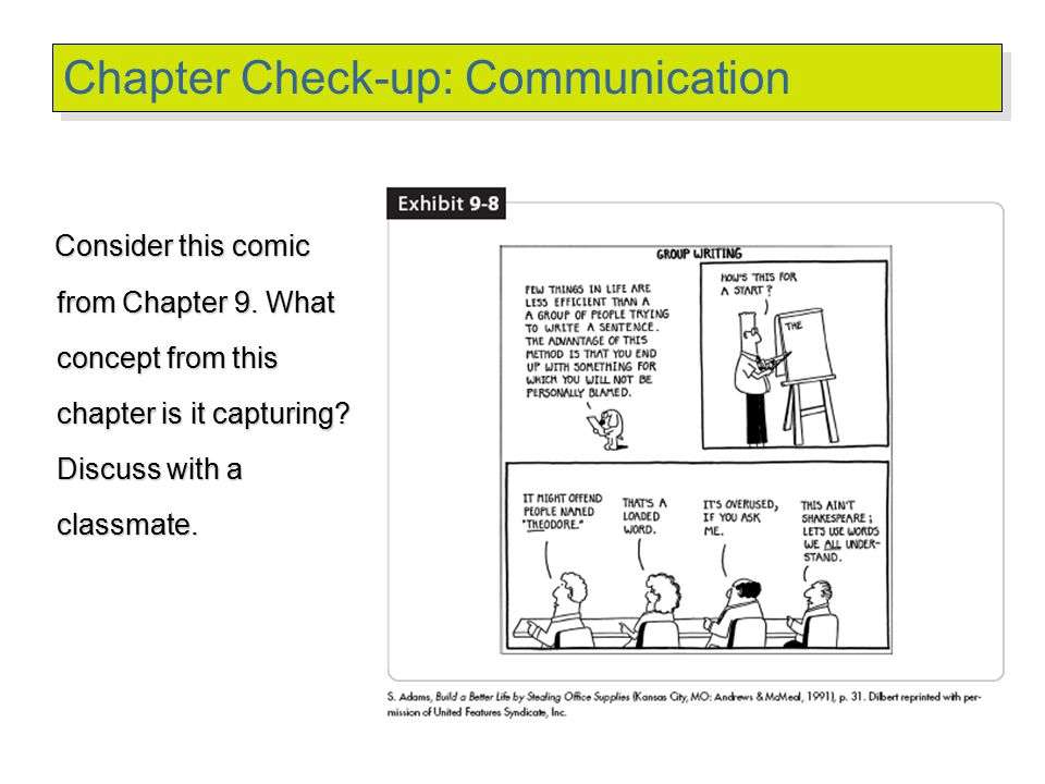 © 2007 Prentice Hall Inc. All rights reserved. Chapter Check-up: Communication Consider this comic from Chapter 9. What concept from this chapter is i