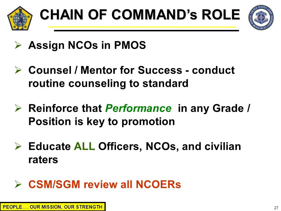 PEOPLE... OUR MISSION, OUR STRENGTH 27  Assign NCOs in PMOS  Counsel / Mentor for Success - conduct routine counseling to standard  Reinforce that