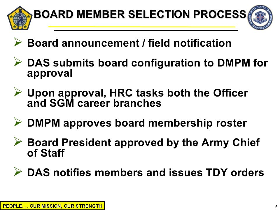 PEOPLE... OUR MISSION, OUR STRENGTH 6  Board announcement / field notification  DAS submits board configuration to DMPM for approval  Upon approval