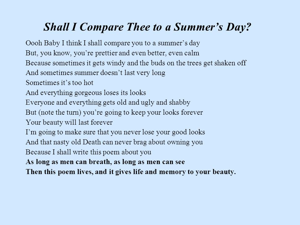 Shall I Compare Thee to a Summer's Day.