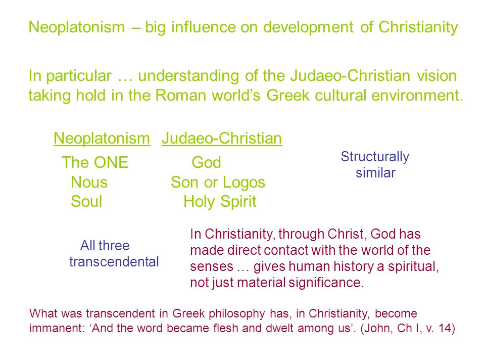Neoplatonism – big influence on development of Christianity In particular … understanding of the Judaeo-Christian vision taking hold in the Roman world's Greek cultural environment.