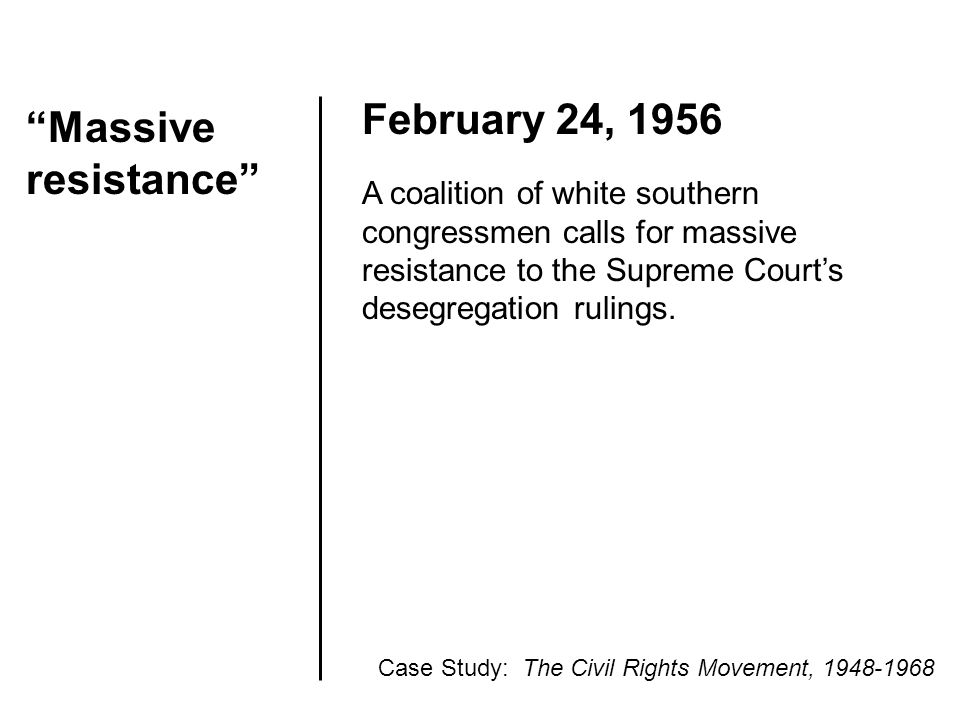 """Massive resistance"" February 24, 1956 A coalition of white southern congressmen calls for massive resistance to the Supreme Court's desegregation rul"