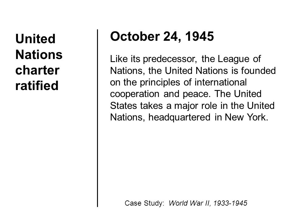 United Nations charter ratified October 24, 1945 Like its predecessor, the League of Nations, the United Nations is founded on the principles of inter