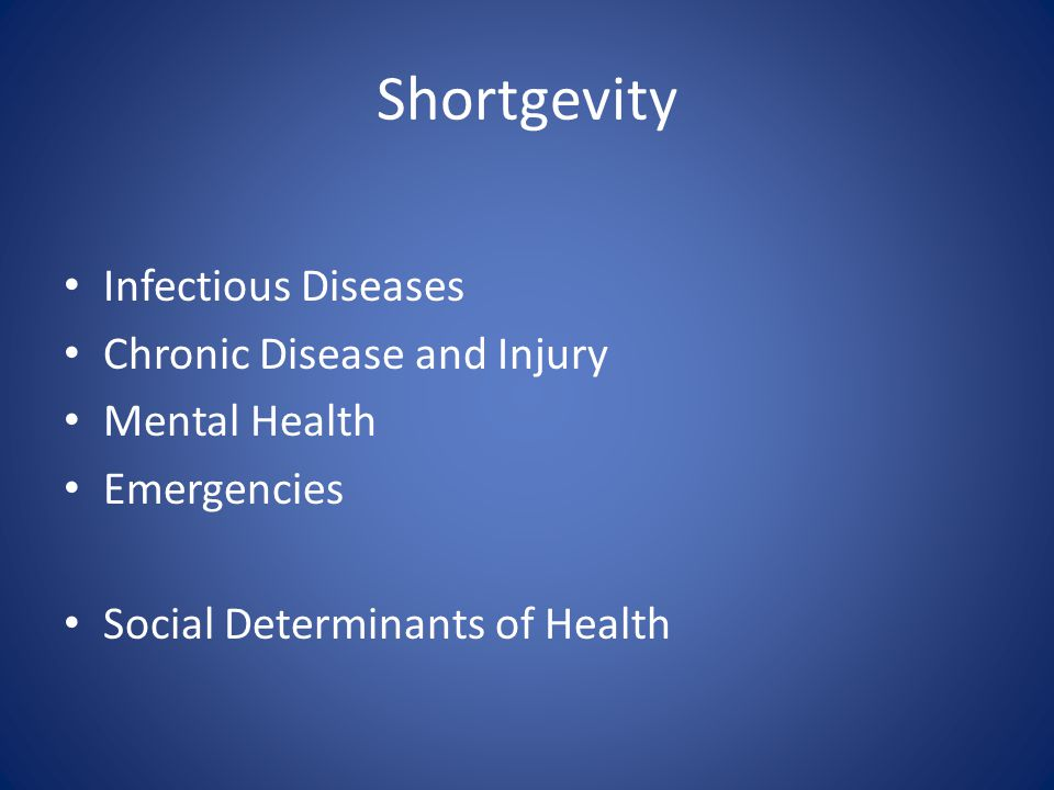 Shortgevity Infectious Diseases Chronic Disease and Injury Mental Health Emergencies Social Determinants of Health