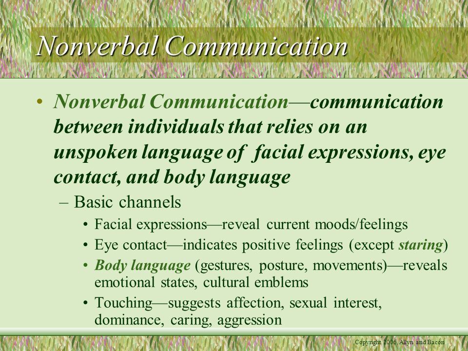 Copyright 2006, Allyn and Bacon Nonverbal Communication Nonverbal Communication—communication between individuals that relies on an unspoken language of facial expressions, eye contact, and body language –Basic channels Facial expressions—reveal current moods/feelings Eye contact—indicates positive feelings (except staring) Body language (gestures, posture, movements)—reveals emotional states, cultural emblems Touching—suggests affection, sexual interest, dominance, caring, aggression