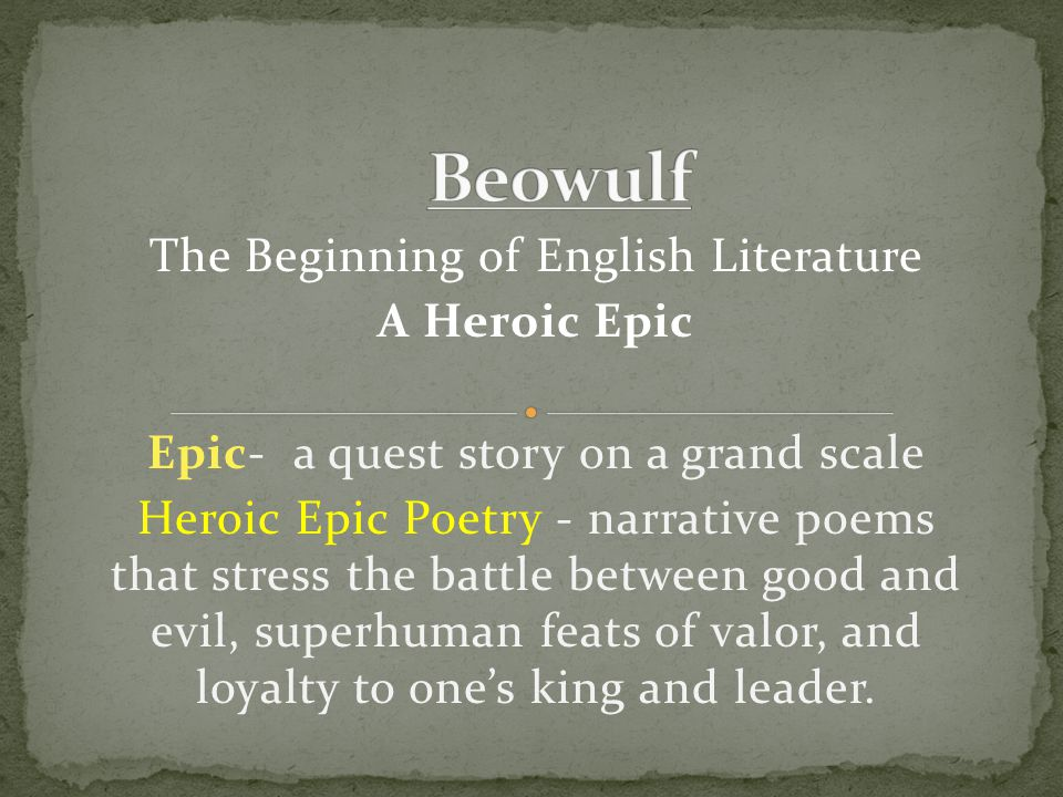 Examples: King- ring-giver Ship- sea-rider Devil- shepherd of evil gold-shining hall= Herot guardian of crime = Grendel strong-hearted wakeful sleeper = Beowulf cave-guard and sky-borne foe = dragon Examples from Beowulf :