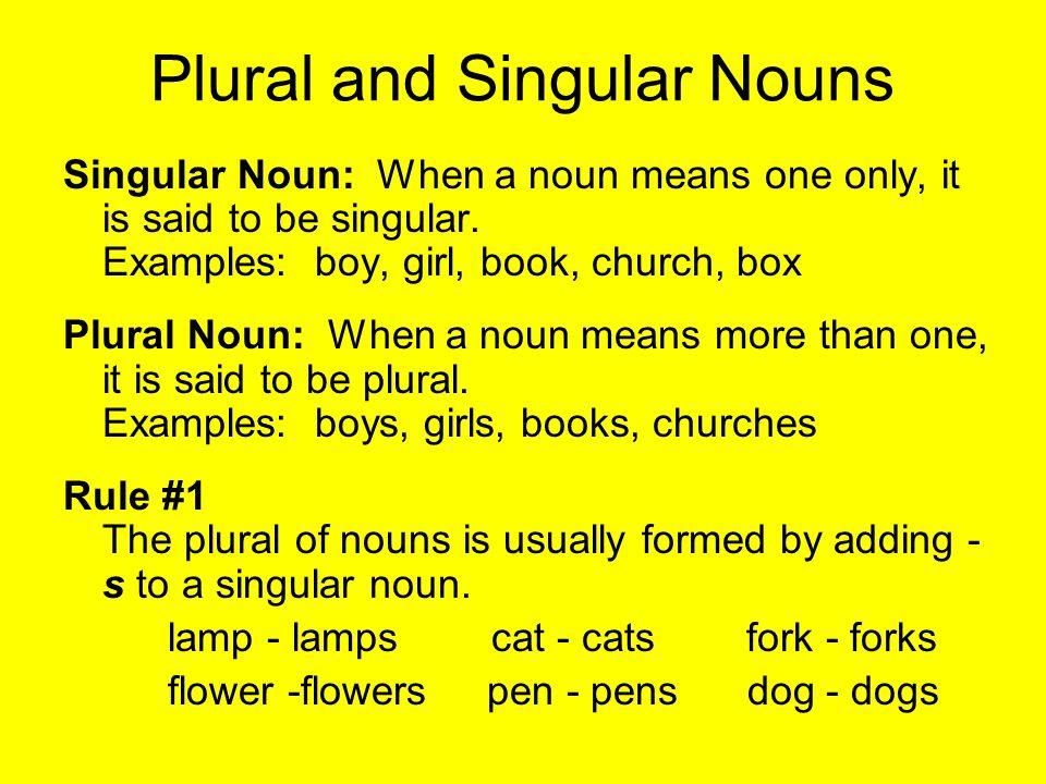 Plural and Singular Nouns Singular Noun: When a noun means one only, it is said to be singular. Examples: boy, girl, book, church, box Plural Noun: Wh