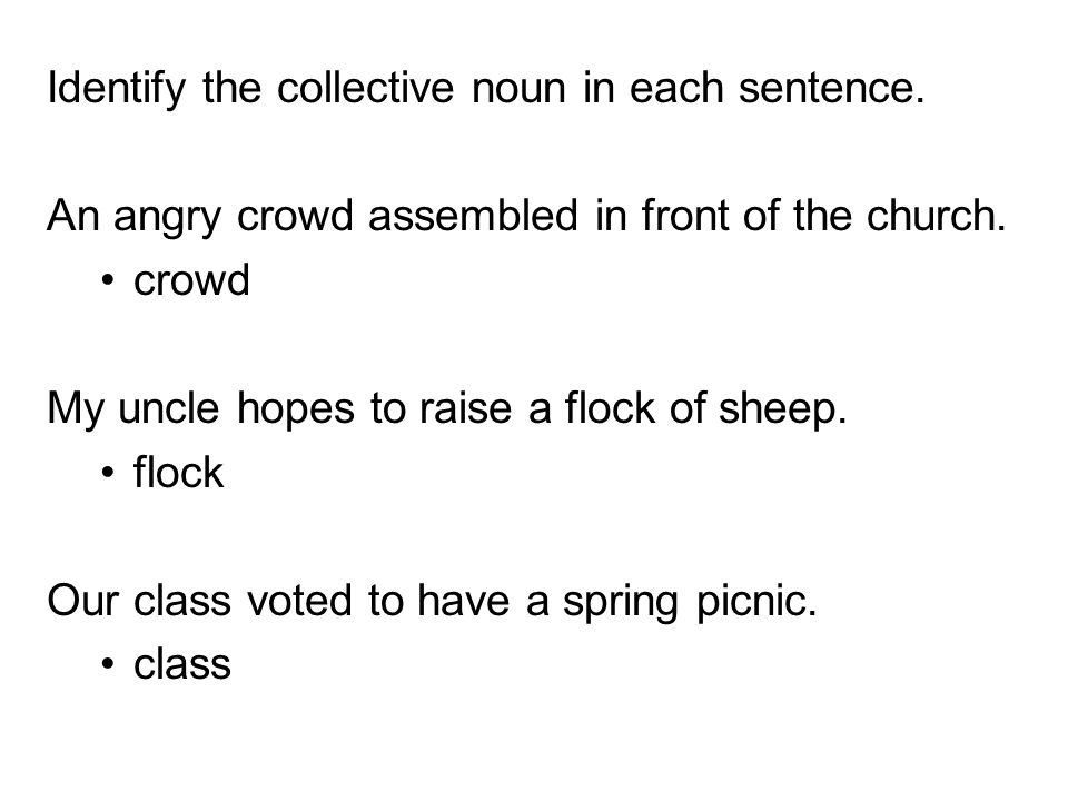 Identify the collective noun in each sentence. An angry crowd assembled in front of the church. crowd My uncle hopes to raise a flock of sheep. flock