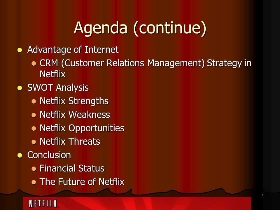 14 Netflix Threats Strong competitive market with other movie rental stores such as Blockbuster, Wal-Mart and Comcast Pay-per-view Strong competitive market with other movie rental stores such as Blockbuster, Wal-Mart and Comcast Pay-per-view Older or newer media formats are not supported currently Older or newer media formats are not supported currently Lower price and promotions of competitors Lower price and promotions of competitors Cost of postal service Cost of postal service