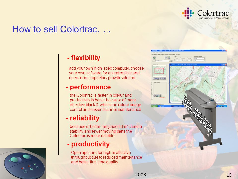 2003 14 The Colortrac advantage... The 3680e, 4260e/4280e are a better scanner buy and have the following advantages: - Higher scan speeds at 200dpi*