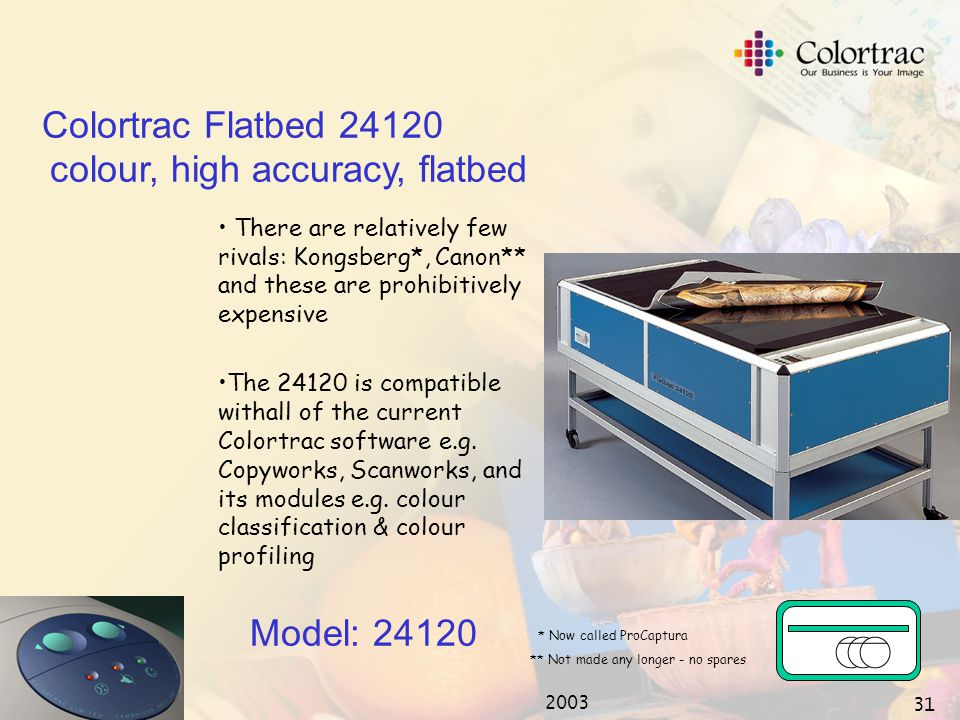 2003 30 Museum archiving Geographical Information Systems High Resolution Colour Graphics Mapping Pre-Press Proofing Model: 24120 Colortrac Flatbed 24120 colour, high accuracy, flatbed