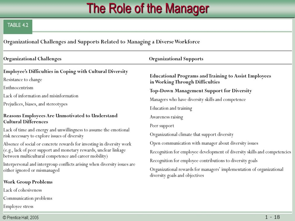 © Prentice Hall, 2005 1 - 18 The Role of the Manager