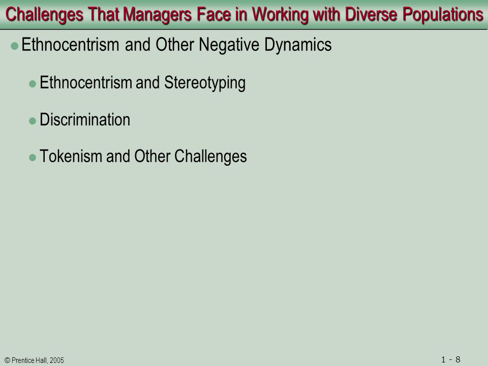 © Prentice Hall, 2005 1 - 9 Challenges That Managers Face in Working with Diverse Populations Negative Dynamics and Specific Groups Women Gender Roles The Glass Ceiling and Sexual Harassment Minorities Older Workers Stereotypes and Prejudices Workers with Disabilities