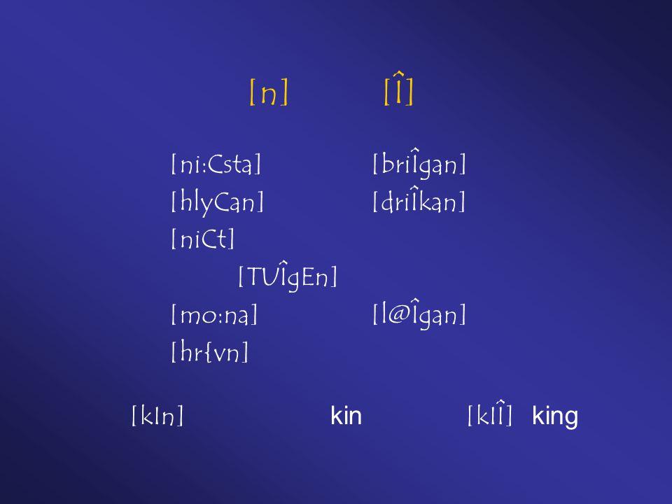 [n] [Î] [ni:Csta][briÎgan] [hlyCan][driÎkan] [niCt] [TUÎgEn] [mo:na][l@Îgan] [hr{vn] [kIn] kin[kIÎ] king