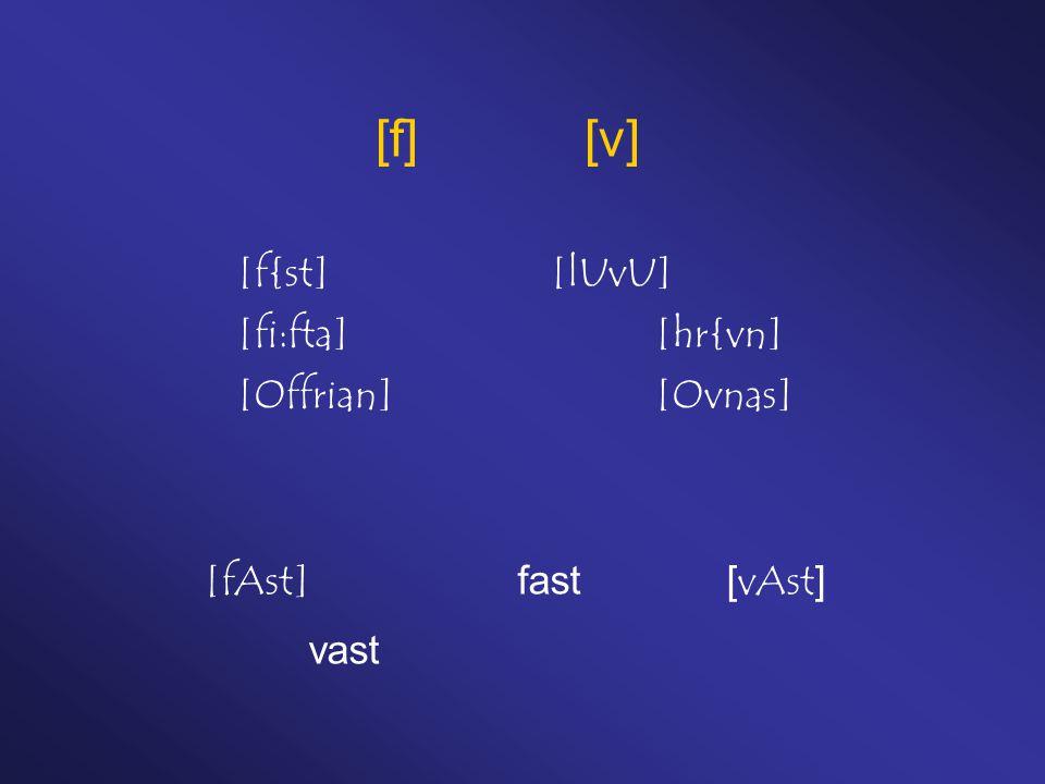 [f][v] [f{st][lUvU] [fi:fta][hr{vn] [Offrian][Ovnas] [fAst]fast[vAst] vast