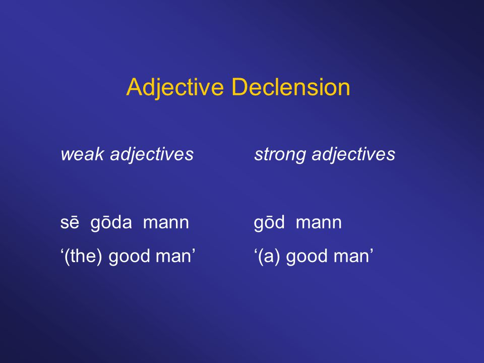Adjective Declension weak adjectivesstrong adjectives sē gōda manngōd mann '(the) good man''(a) good man'