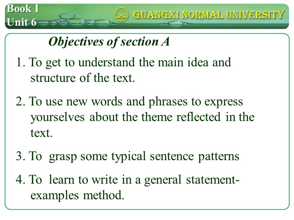Book I Unit 6 Objectives of section A 1.
