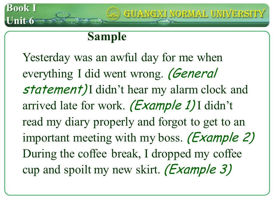 Book I Unit 6 A general statement example1example2example3example4 A general statement supported by examples Structure analysis