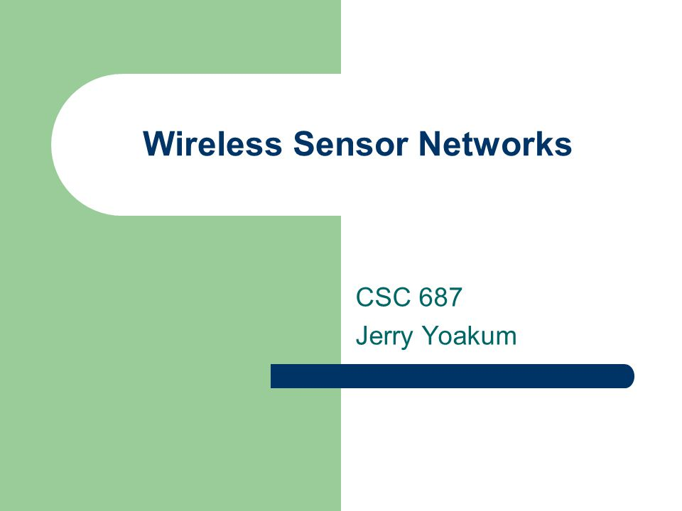 Outline Overview – Environment Monitoring – Medical application Data-dissemination schemes Media access control schemes Distributed algorithms for collaborative processing Architecture for a Wireless Sensor Network Final Remarks