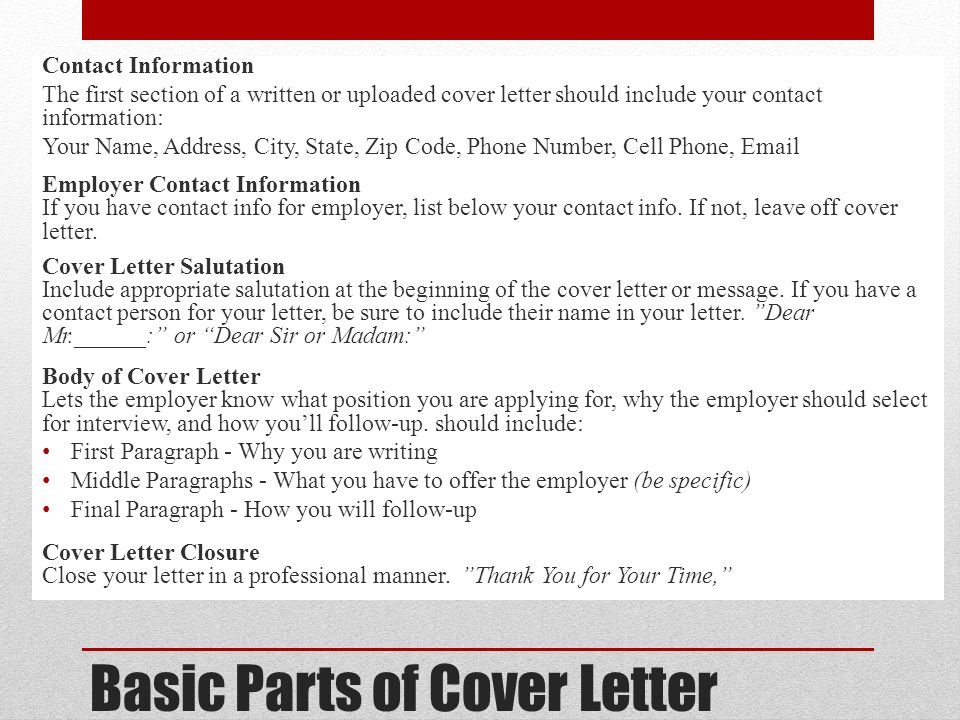 Types of Cover Letters There are 3 general types of cover letters: The application letter which responds to a known job opening The prospecting letter which inquires about possible position The networking letter which requests information and assistance in your job search