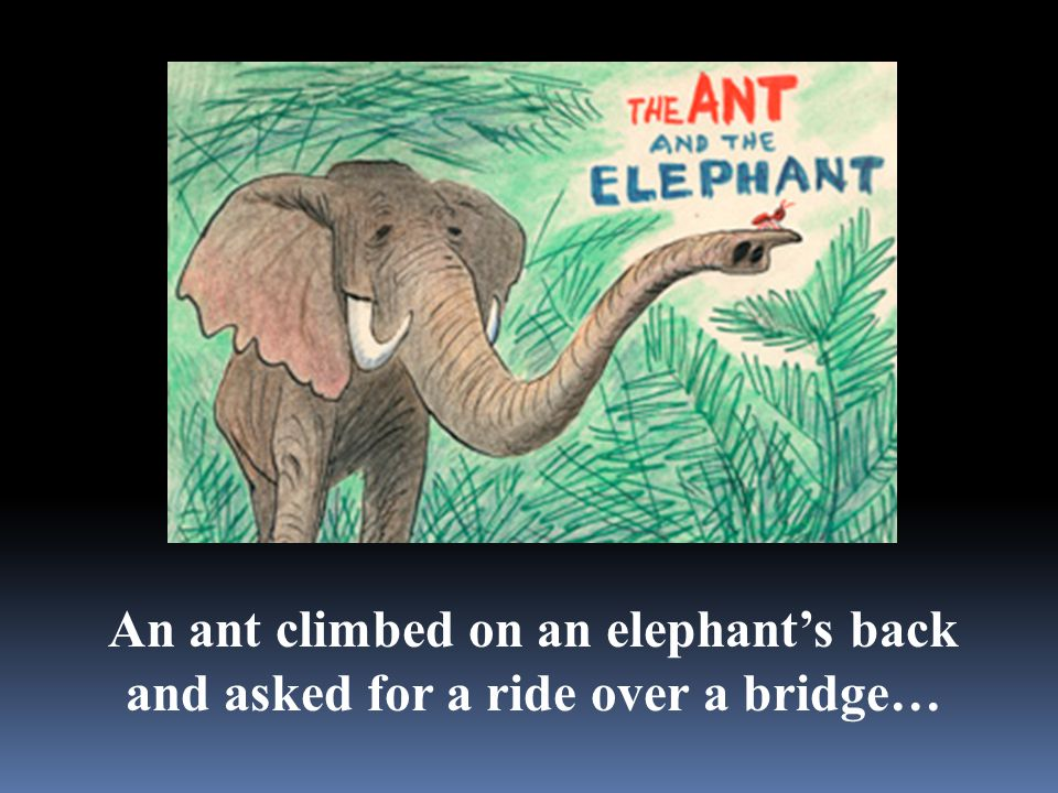 An ant climbed on an elephant's back and asked for a ride over a bridge…